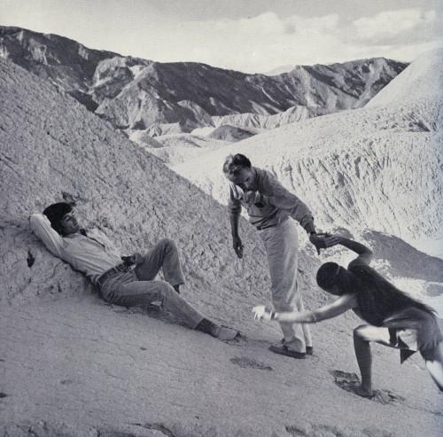 Mark Frechette, Michelangelo Antonioni and Daria Halprin